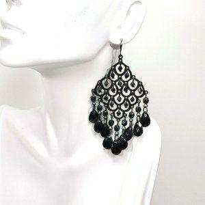 Black Chandelier Earrings Faceted Teardrop Beads